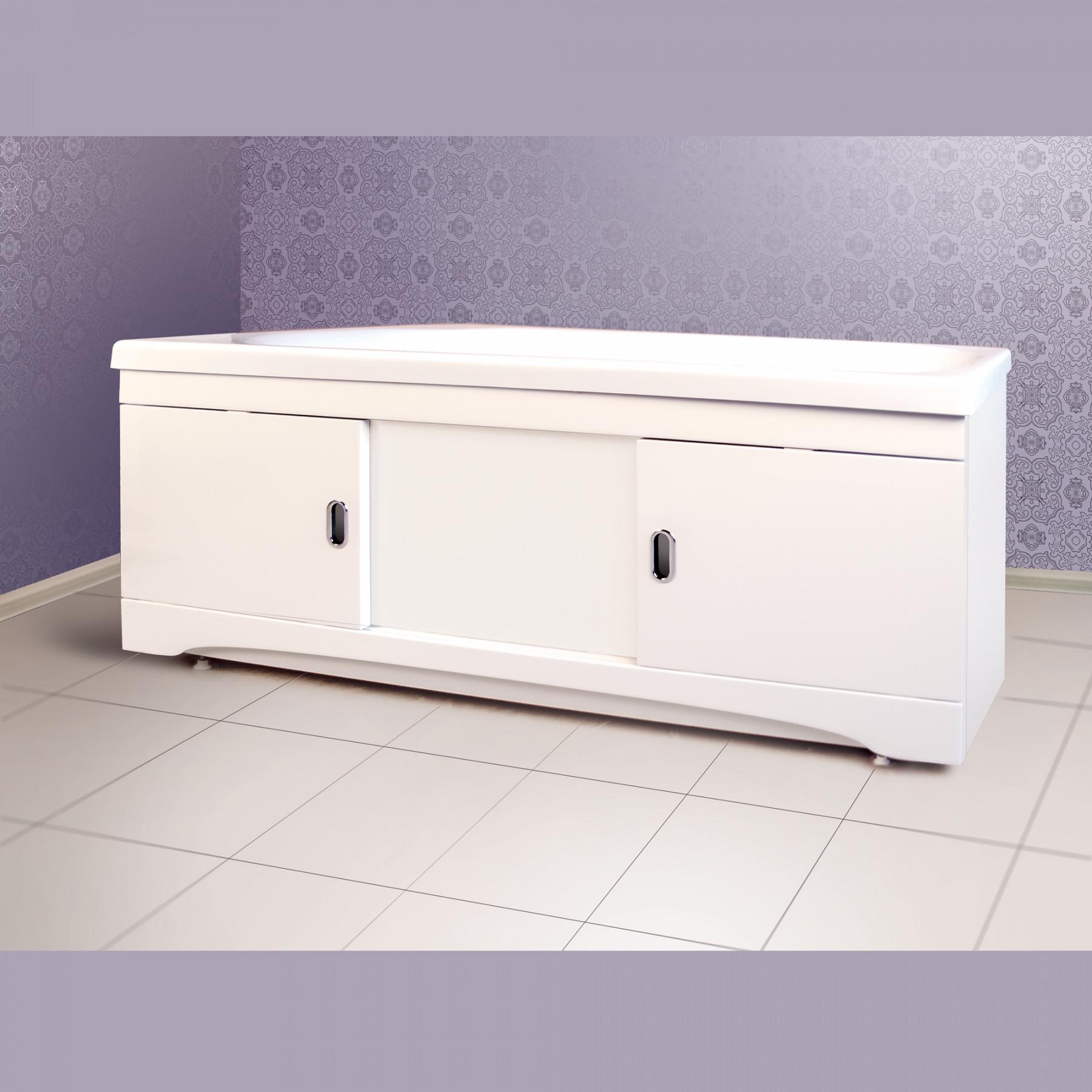 Экран под ванну раздвижной 160 см МДФ белый