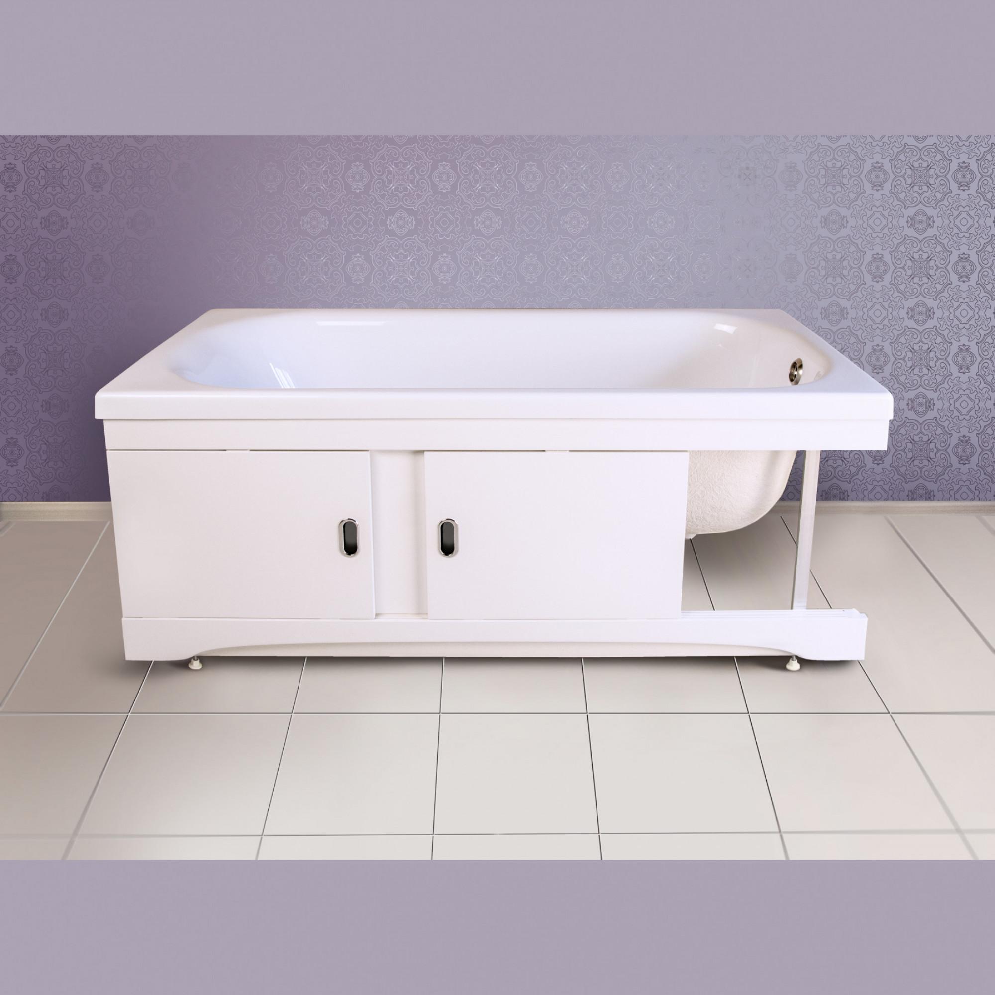 Экран под ванну мдф раздвижной 150 см белый