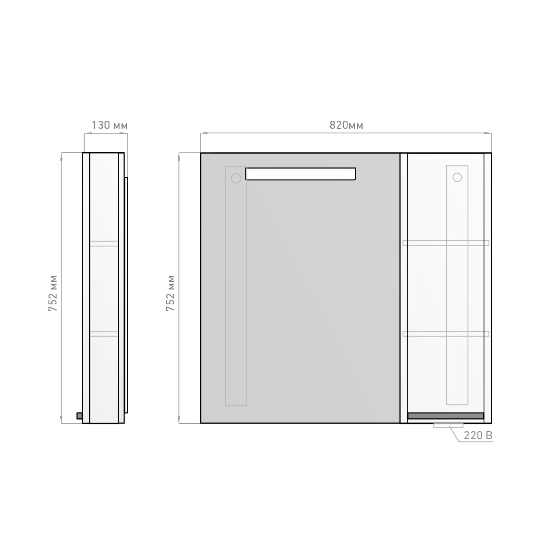 Зеркало-шкаф Latte 82 венге