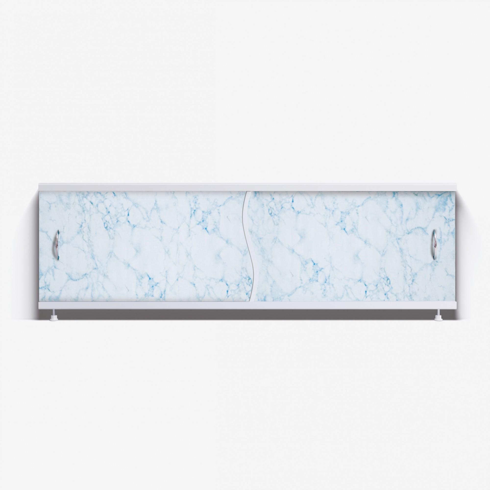 Экран под ванну Премьер 170 бело-голубой мрамор