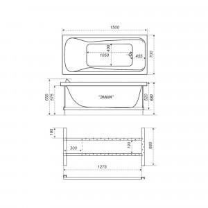 Акриловая ванна Triton Эмма 150x70