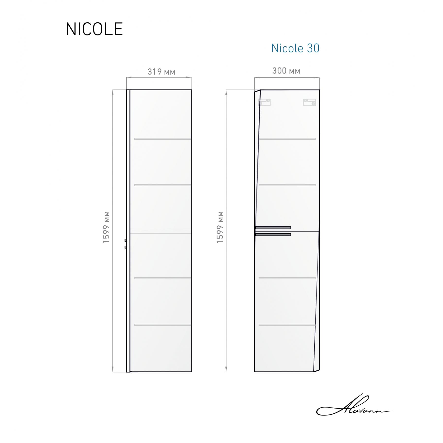 Шкаф-пенал Nicole 30 белый