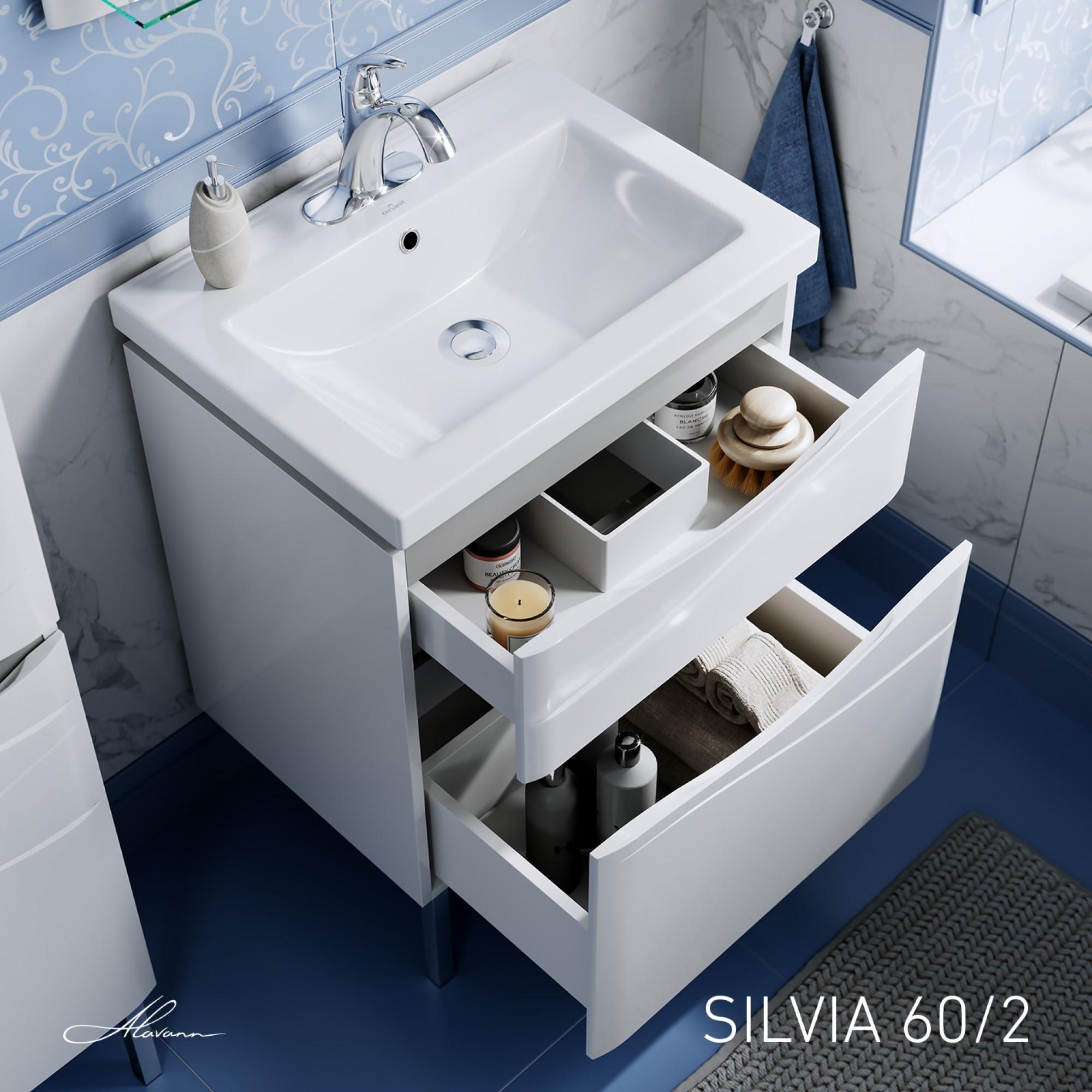 Тумба с раковиной Silvia 60/2 белая
