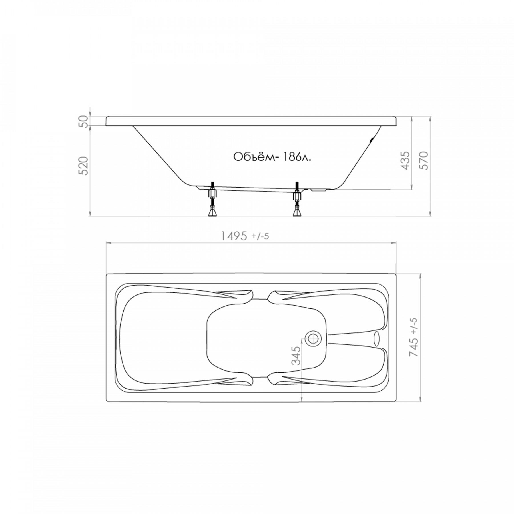 Акриловая ванна Triton Стандарт 150x75