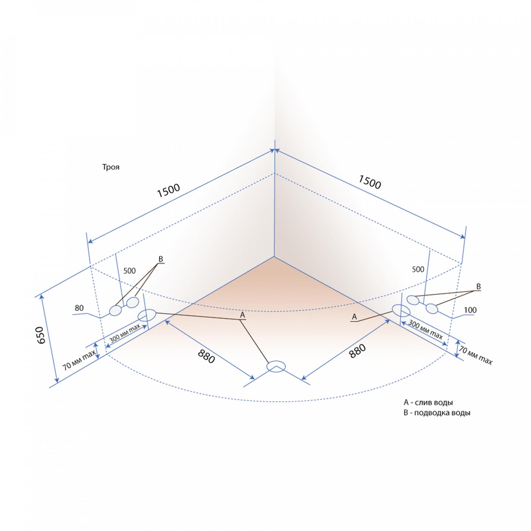 Акриловая ванна Triton Троя 150x150