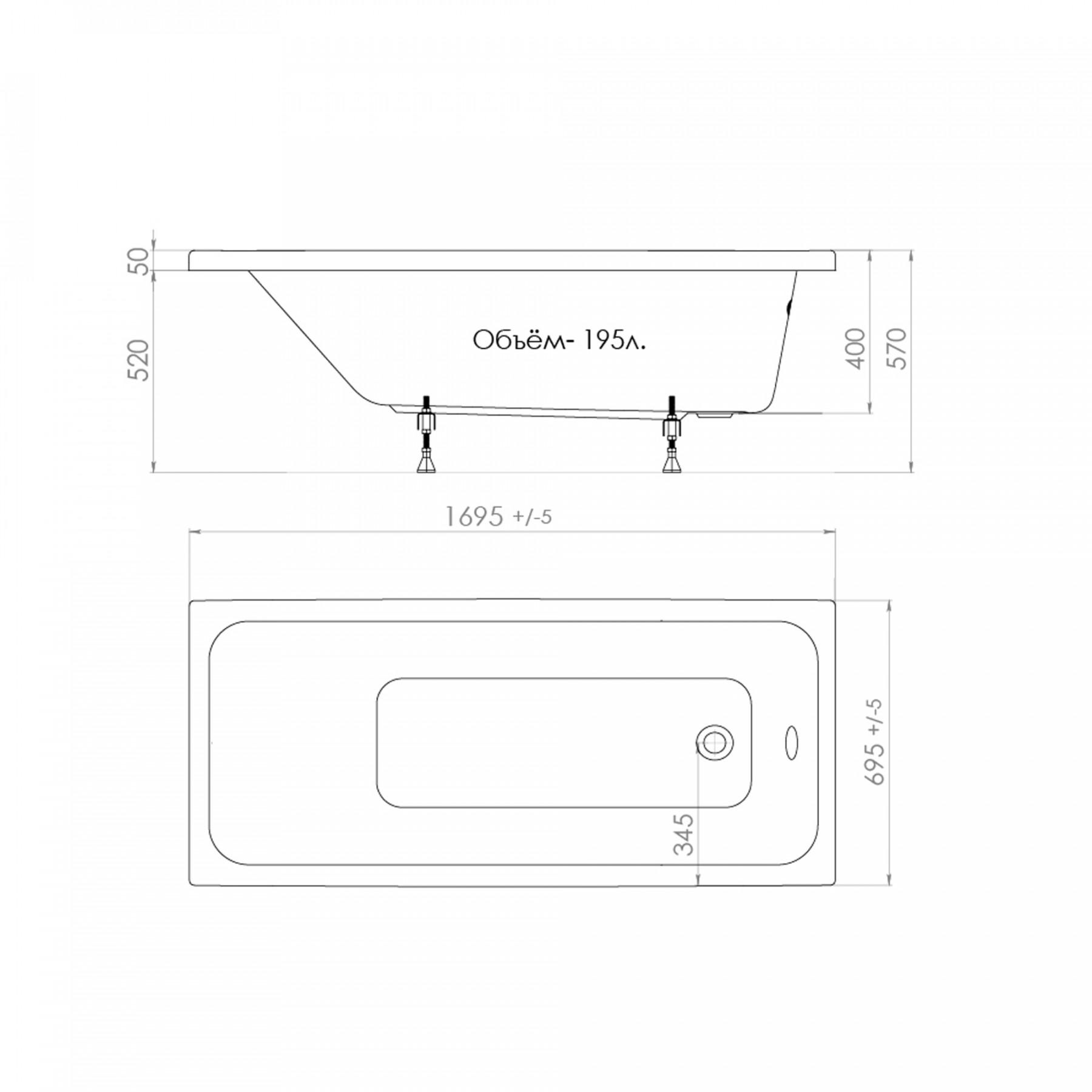 Акриловая ванна Triton Ультра 170x70