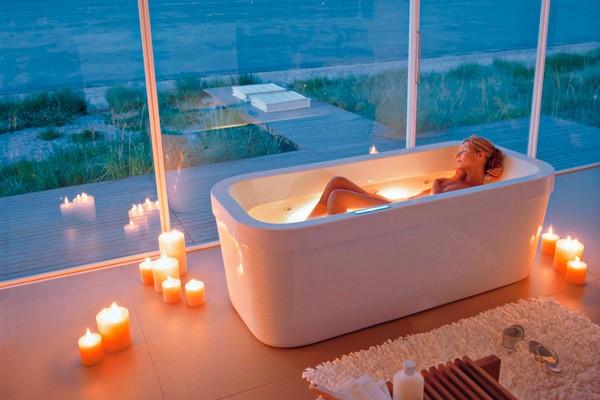 Необычные интерьеры ванных комнат
