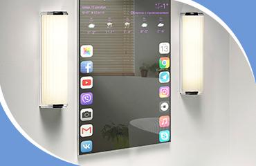 Зеркало для ванной со встроенным монитором и колонками