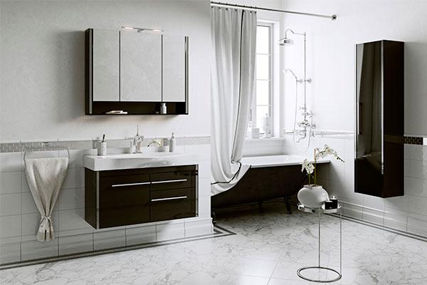На фото - комплект мебели для ванной layra